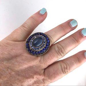 Vintage Blue Cocktail Ring Size 6 1/2 Bling
